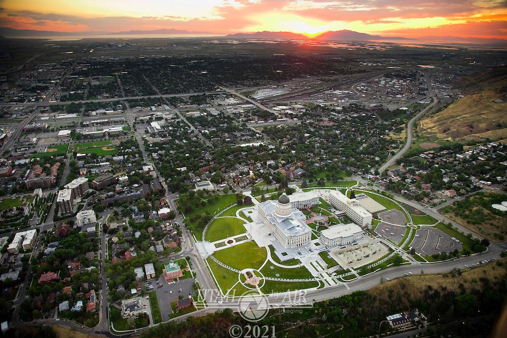 Utah State Capitol in Salt Lake City at dusk