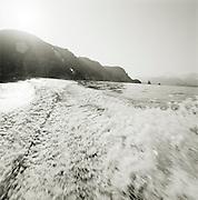 Lipari and Culcano islands from a speed boat, Aeolian Islands, Italy