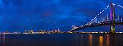 Benjamin Franklin Bridge and Philadelphia at sunset