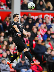 Luis Suarez wins a header - Photo mandatory by-line: Dougie Allward/JMP - Mobile: 07966 386802 - 29/03/2015 - SPORT - Football - Liverpool - Anfield Stadium - Gerrard's Squad v Carragher's Squad - Liverpool FC All stars Game