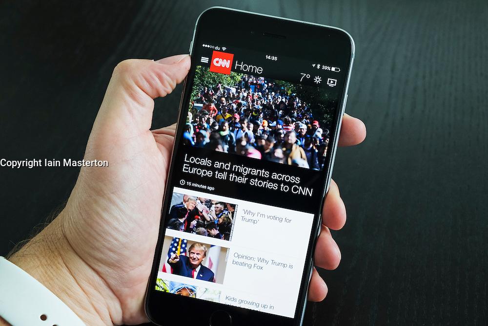 CNN news website app on an iPhone 6 Plus smart phone