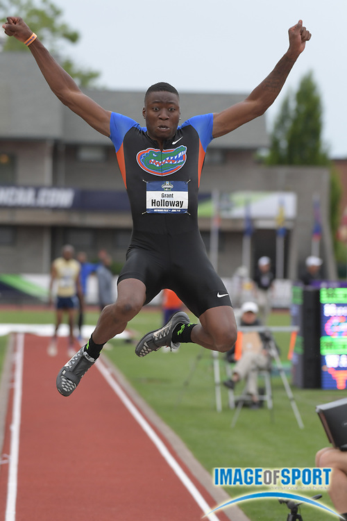 Jun 7, 2017; Eugene, OR, USA; Grant Holloway of Florida places second in the long jump at 26-3 (8.00m) during the NCAA Track and Field Championships at Hayward Field.