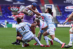 Jack Nowell of Exeter Chiefs is challenged by Juan Imhoff of Racing 92 and Teddy Iribaren of Racing 92 - Mandatory by-line: Ryan Hiscott/JMP - 17/10/2020 - RUGBY - Ashton Gate Stadium - Bristol, England - Exeter Chiefs v Racing 92 - Heineken Champions Cup Final