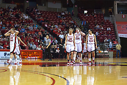 28 February 2010: Seniors Maggie Krick, Nicole Lewis and Ashleen Bracey take the floor. The Redbirds of Illinois State host the Panthers of Northern Iowa on Doug Collins Court inside Redbird Arena at Normal Illinois.