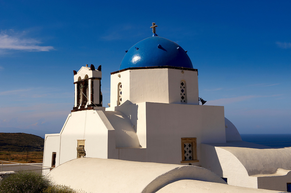 Blue domed  Orthodox church, Fira, Santorini .<br /> <br /> If you prefer to buy from our ALAMY PHOTO LIBRARY  Collection visit : https://www.alamy.com/portfolio/paul-williams-funkystock/santorini-greece.html<br /> <br /> Visit our PHOTO COLLECTIONS OF GREECE for more photos to download or buy as wall art prints https://funkystock.photoshelter.com/gallery-collection/Pictures-Images-of-Greece-Photos-of-Greek-Historic-Landmark-Sites/C0000w6e8OkknEb8