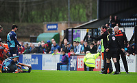 Blackpool manager Gary Bowyer points the finger at Wycombe Wanderers' Luke O'Nien (17) after the latter goes down injured<br /> <br /> Photographer Kevin Barnes/CameraSport<br /> <br /> The EFL Sky Bet League Two - Wycombe Wanderers v Blackpool - Saturday 11th March 2017 - Adams Park - Wycombe<br /> <br /> World Copyright © 2017 CameraSport. All rights reserved. 43 Linden Ave. Countesthorpe. Leicester. England. LE8 5PG - Tel: +44 (0) 116 277 4147 - admin@camerasport.com - www.camerasport.com