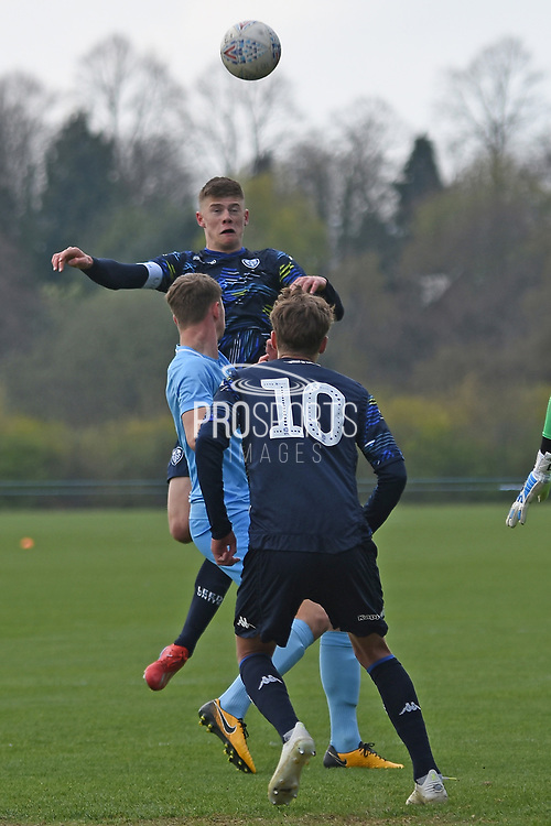 Leeds United defender Charlie Cresswell heads at goal during the U18 Professional Development League match between Coventry City and Leeds United at Alan Higgins Centre, Coventry, United Kingdom on 13 April 2019.