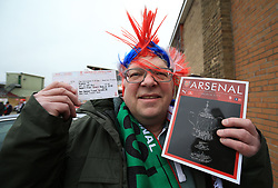 Lincoln City fan John Cotton before departing for London from Sincil Bank, Lincoln.