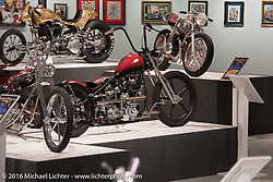 Will Ramsey's Faith Forgotten custom 1978 Harley-Davidson Shovelhead in Michael Lichter's Skin & Bones tattoo inspired Motorcycles as Art show at the Buffalo Chip Gallery during the annual Sturgis Black Hills Motorcycle Rally. SD, USA. August 10, 2016. Photography ©2016 Michael Lichter.