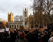 Protesters gather outside Parliament in London to oppose the new restrictions on the right to protest. March 15 2021.