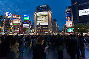 A young woman uses a smart phone in front of the iconic Shibuya Crossing, Shibuya, Tokyo, Japan. Friday April 21st 2017