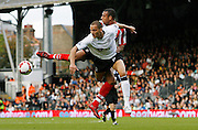 Fulham v  Sunderland  English  Premier League Season 2008/09 ..18/10/08.. Fulham's Bobby Zamora clashes with Sunderland's Anton Ferdinand during this weekends Barclays Premier League match between Fulham Fc and Sunderland AFc. At Fulham's Craven Cottage Stadium,  London today...Picture by Mark Davison/ Universal News & Sport.