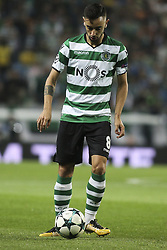 October 31, 2017 - Lisbon, Portugal - Sporting's midfielder Bruno Fernandes in action during the Champions League  football match between Sporting CP and Juventus FC at Jose Alvalade  Stadium in Lisbon on October 31, 2017. (Credit Image: © Carlos Costa/NurPhoto via ZUMA Press)