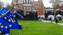 Temporary broadcast studios have been set up on College Green Outside Parliament in London, with campaigners from both Leave and Remain camps demonstrating in the foreground. London, January 14 2019.