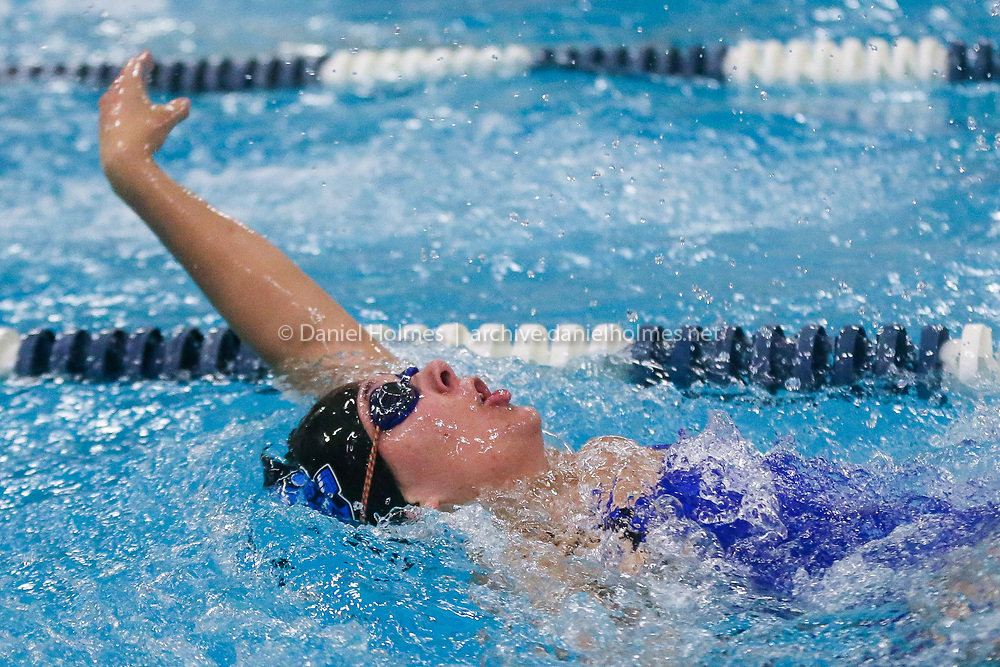 (1/30/19, FRAMINGHAM, MA) Dover-Sherborn's Penelope Giesen competes in the 200-yard medley relay during the swim meet against Ashland at Keefe Tech in Framingham on Wednesday. [Daily News and Wicked Local Photo/Dan Holmes]
