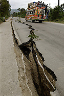 Earthquake aftermath in Haiti on Monday, January 25, 2010..Fissures in the road in Leo Gane are several feet deep cause by the earthquake..
