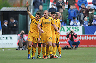 Andy Sandell of Newport County (13) celebrates after scoring his sides 3rd goal during the Skybet football league two match, Newport county v Chesterfield at Rodney Parade in Newport, South Wales on Sunday 1st Dec 2013. pic by Jeff Thomas, Andrew Orchard sports photography,