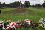 """67th Anniversary. Memorial to murdered Roma and Sinti in the concentration camp at the so-called Zigeunerlager, the concentration camp hut for Roma and Sinti. Auschwitz II Birkenau, Oswiecim Poland ..Roma Holocaust """"Porrajmos"""", the Roma word means literally """"the devouring"""", where it is estimated that between 500 thousand and one and a half million Roma were exterminated across Germany, Poland, ex-Yugoslavia and Czechoslovakia during the 1930s and 1940s. The Roma were the first race to be subjected to experimentation by the Nazis, as part of Joseph Goebbels' 'Final Solution'."""