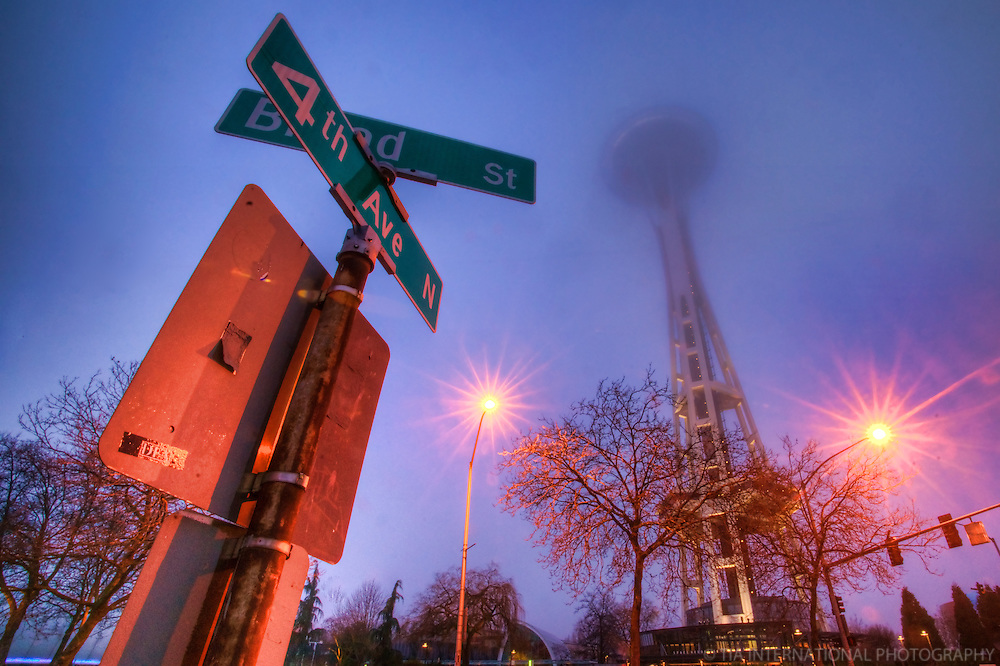 Space Needle in the Fog @ 4th & Broad