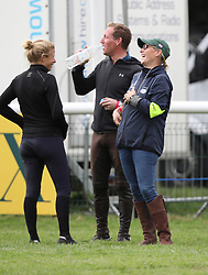 Zara Tindall and Mike Tindall are seen enjoying a day out at the Burghley Horse Trials with their daughter Mia.<br />
