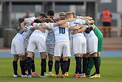 FC Helsingørs spillere gør sig klar til kampen i 1. Division mellem Hvidovre IF og FC Helsingør den 15. september 2020 på Pro Ventilation Arena, Hvidovre Stadion (Foto: Claus Birch).