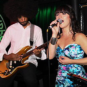 Louise Golbey  and her band perform at the Macmillan - charity gala summer party at Pizza Express Dean Street on 8 August 2018, London, UK.