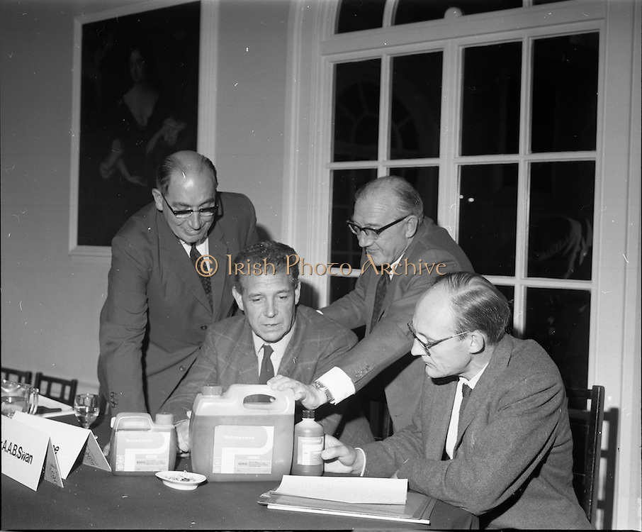 17/07/1970<br /> 07/17/1970<br /> 17 July 1970<br /> I.C.I. Press Conference regarding Paraquat weedkiller at the Royal Hibernian Hotel, Dublin. The conference was part of a campaign, in consultation with the Department of Health, to warn the public of the dangers of decanting the weedkiller into other containers such as unlabelled bottles. This had been the cause of a number of deaths over the previous 8 years as people mistook the chemical for beer, whiskey or cordial. The company planned to write to all 267,000 farmers in the Republic to warn of the dangers of the practice. Image shows Dr. Tom Walshe (2nd left) Director, An Foras Talamhtais (Agricultural Institute) chatting with (from left)  Dr. W.R. Boon (left) Joint Managing Director, Plant Protection Ltd.; Mr Stanley Magee (centre) Manager Agro-chemicals Division, I.C.I (Ireland) Ltd.  and Dr. A.A. Swan, Director, I.C.I. Industrial Hygiene Laboratories  after the news conference.
