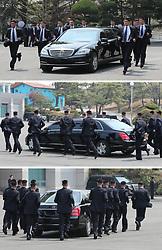 April 27, 2018 - Paju, South Korea - South Korean President MOON JAE-IN and North Korean leader KIM JONG-UN during their inter-Korean summit at the Panmunjom in the demilitarized zone (DMZ) separating the two Koreas in Paju, north of Seoul, South Korea. (Credit Image: © Inter-Korean Press Corps via ZUMA Wire)