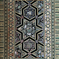 Africa, Egypt. Typical wood box inlaid with mother of pearl.