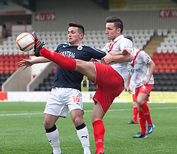Falkirk's Sean Higgins and Airdrie United's Rikki Lamie..Airdrie United 0 v 1 Falkirk, 30/3/2013..©Michael Schofield..