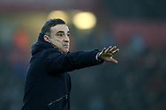 Carlos Carvalhal , the Swansea city manager reacts on the touchline. Premier league match, Swansea city v Tottenham Hotspur at the Liberty Stadium in Swansea, South Wales on Tuesday 2nd January 2018. <br /> pic by  Andrew Orchard, Andrew Orchard sports photography.