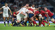 Twickenham, England.  Ben MORGAN, ball in hand breaks of the back of the scrum, during the QBE International. England vs France [World cup warm up match]  Saturday.  15.08.2015,  [Mandatory Credit. Peter SPURRIER/Intersport Images].