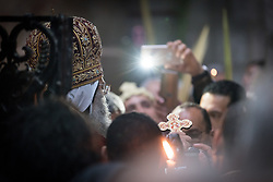 20 April 2019, Jerusalem: His Grace Bishop Alanba Antonios, Coptic Orthodox Archbishop of Jerusalem and the Near East is one of many Orthodox Christians marking Palm Sunday in the Church of the Holy Sepulchre.
