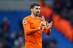 Brighton & Hove Albion goalkeeper Mathew Ryan celebrates victory after the Premier League match at the AMEX Stadium, Brighton.