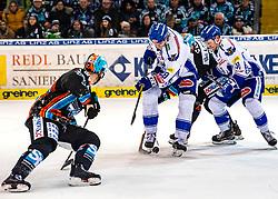 22.12.2019, Keine Sorgen Eisarena, Linz, AUT, EBEL, EHC Liwest Black Wings Linz vs EC VSV, 30. Runde, im Bild v.l. Hunter Fejes (EHC Liwest Black Wings Linz), Miika Lahti (EC Panaceo VSV), Justin Florek (EHC Liwest Black Wings Linz), Alexander Lahoda (EC Panaceo VSV) // during the Erste Bank Eishockey League 30th round match between EHC Liwest Black Wings Linz and EC VSV at the Keine Sorgen Eisarena in Linz, Austria on 2019/12/22. EXPA Pictures © 2019, PhotoCredit: EXPA/ Reinhard Eisenbauer