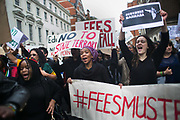 Students from around the country demonstrate in Central London in solidarity with South African students. The South African government has introduces a raise in university fees and students protests and occupy universities across South Africa.