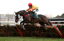Sir Will ridden by Richard Patrick competes in the Start Your RacingTV Free Trial Now Handicap Hurdle during Midlands Raceday at Warwick Racecourse.