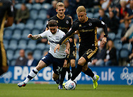 Byron Webster of Millwall and Seán Maguire of Preston North End  during the EFL Sky Bet Championship match between Preston North End and Millwall at Deepdale, Preston, England on 23 September 2017. Photo by Paul Thompson.