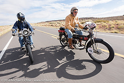 New Yorkers Frank Westfall (R) riding his 4-cylinder 1912 Henderson class-2 bike beside mechanic and restorer Tanner Whitton on Mark Hill's 4-cylinder 1915 class-2 Henderson during the Motorcycle Cannonball Race of the Century. Stage-12 ride from Page, AZ to Williams, AZ. USA. Thursday September 22, 2016. Photography ©2016 Michael Lichter.