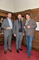 Left to right, JEFF GALVIN, CHRIS GALVIN and MARCO PIERRE WHITE at a lunch hosted by Fortnum & Mason, Piccadilly, London on 29th January 2015 in honour of Marco Pierre White and the publication of White Heat 25.