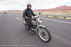 Jon Dobbs of Wisconsin riding his 1915 Harley-Davidson in the Motorcycle Cannonball Race of the Century. Stage-12 ride from Page, AZ to Williams, AZ. USA. Thursday September 22, 2016. Photography ©2016 Michael Lichter.