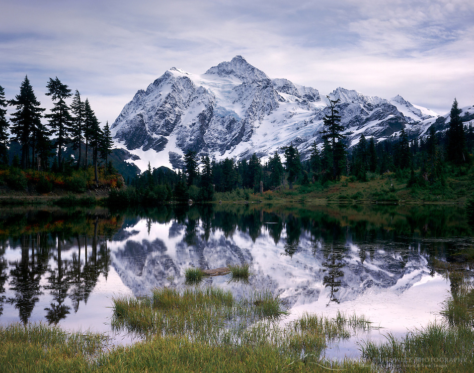 Mount Shuksan 9,127 feet (2,782 metres) seen from Picture Lake, Washington USA