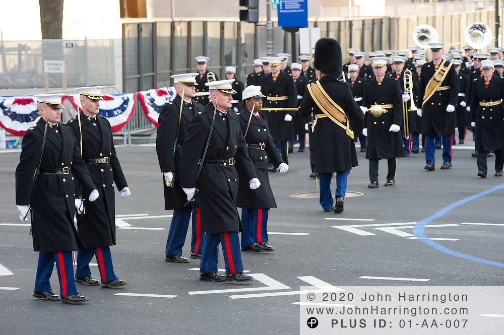 Marines participate in the parade for the 57th Presidential Inauguration of President Barack Obama at the U.S. Capitol Building in Washington, DC January 21, 2013.