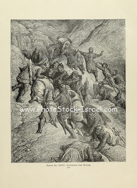 Famished for water by Dore Plate XXVI from the book Story of the crusades. with a magnificent gallery of one hundred full-page engravings by the world-renowned artist, Gustave Doré [Gustave Dore] by Boyd, James P. (James Penny), 1836-1910. Published in Philadelphia 1892
