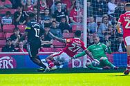 Adam Davies of Barnsley (1) saves Tyrese Campbell of Shrewsbury Town (11) shot during the EFL Sky Bet League 1 match between Barnsley and Shrewsbury Town at Oakwell, Barnsley, England on 19 April 2019.