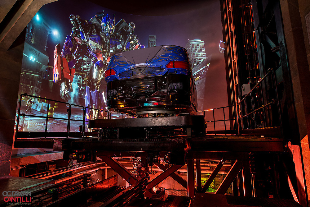 The custom made ride vehicle lift used on the Transformers ride at Universal Orlando Resort in Orlando, FL. For Universal Orlando Resort