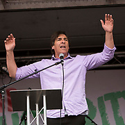 Mark Steel speaking at the People's Assembly Against Austerity 'End Austerity Now' demonstration attended by over 250,000 people on Saturday 20th of June 2015 sending a clear message to the Tory government; demanding an alternative to austerity and to policies that only benefit those at the top. London, UK.