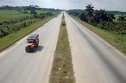 Lorry travelling along motorway in Cuba,