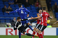 Ipswich Town goalkeeper Bartosz Bialkowski makes a save to deny Sean Morrison of Cardiff city (4).  EFL Skybet championship match, Cardiff city v Ipswich Town at the Cardiff city stadium in Cardiff, South Wales on Tuesday 31st October 2017.<br /> pic by Andrew Orchard, Andrew Orchard sports photography.