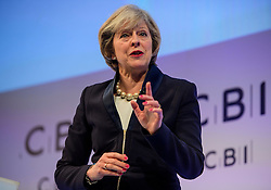 © Licensed to London News Pictures. 21/11/2016. London, UK. British prime minister THERESA MAY speaking at the Confederation of British Industry (CBI) conference, held at Grosvenor House in London.  Photo credit: Ben Cawthra/LNP